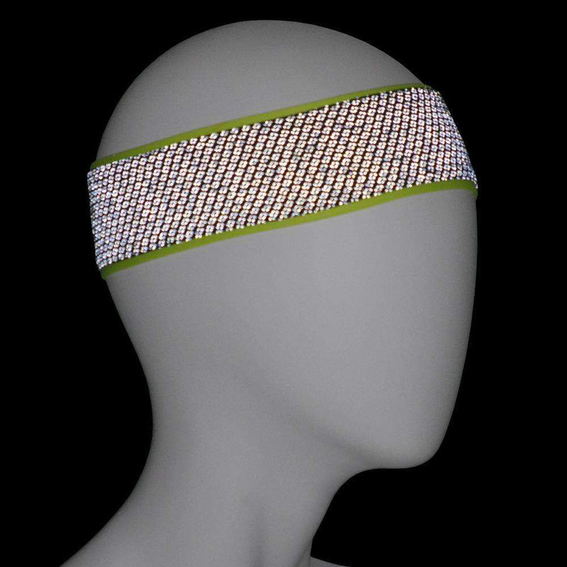 REVERSIBLE! Reflective Stretch Eclipse Headband in Flo Lime/Black