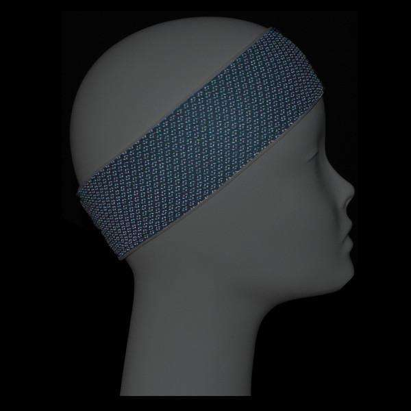 REVERSIBLE! Reflective Stretch Eclipse Headband in White/Graphite