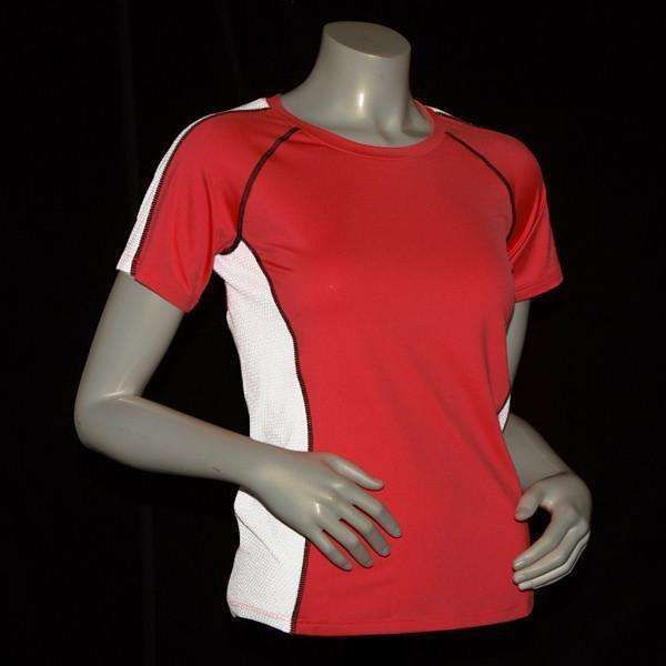Short Sleeve Reflective Women's Piper Tee in Coral Glo/White