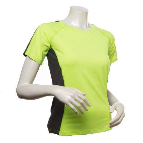 Short Sleeve Reflective Women's Piper Tee in Flo Lime/ Graphite