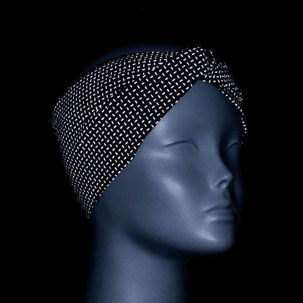 Twisted Bandeau Reflective Headband in Black