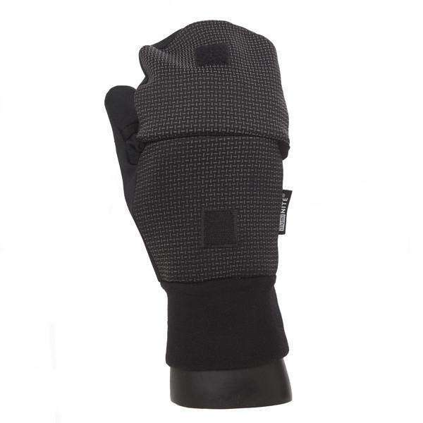 Vigor Flip-Top Half-Finger Reflective Mens Mitts in Black