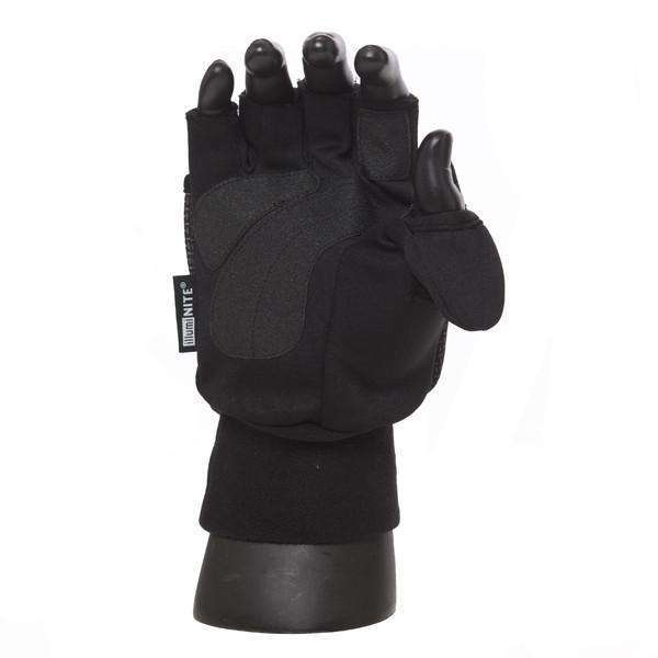 Flip-Top Half-Finger Reflective Mens Mitts in Black