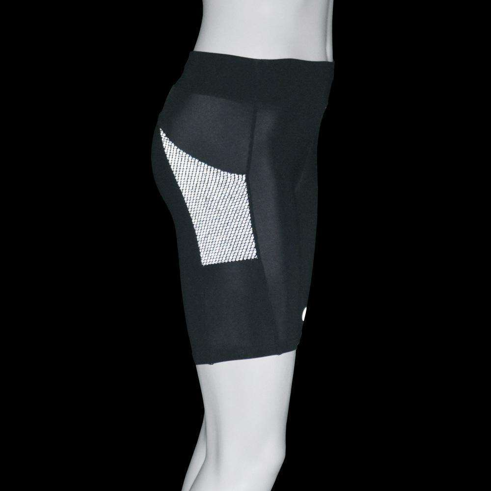 Women's Jammer Mid-length Reflective Running Short in Black