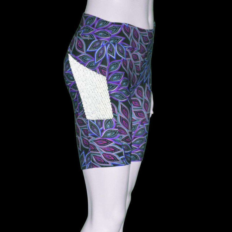 Women's Jammer Mid-length Reflective Running Short in Feather Print