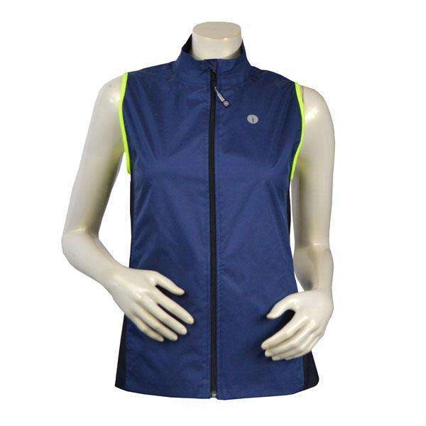 Women's Newport Packable Reflective Vest in Navy/Flo Lime