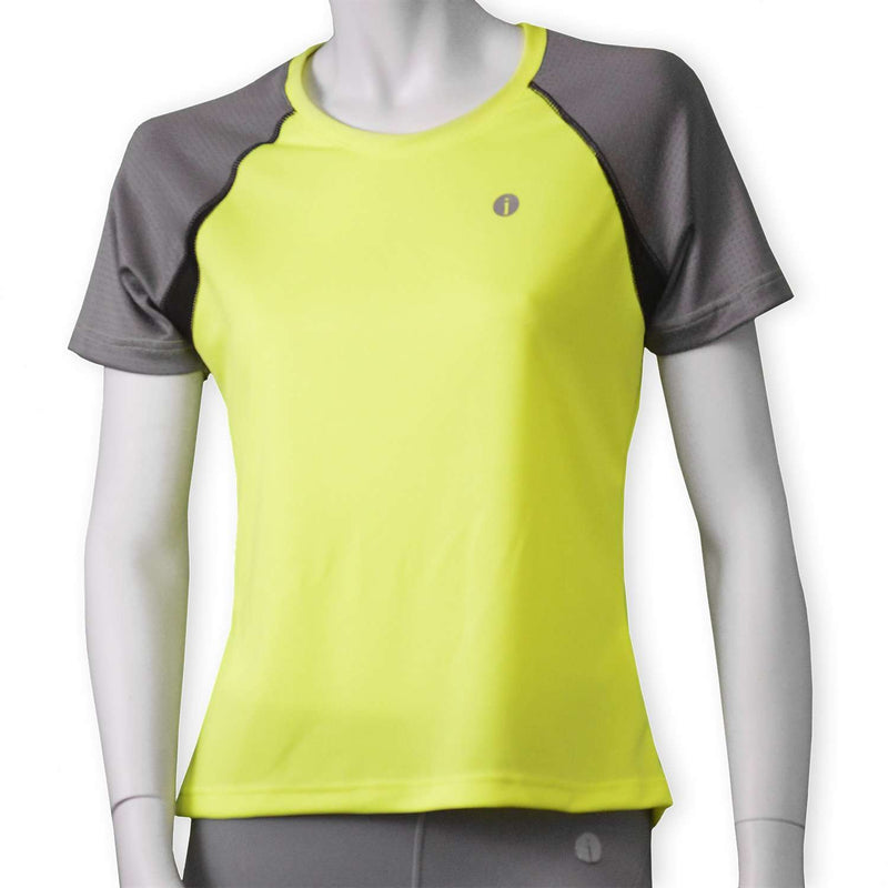 Women's Short Sleeve Savannah Shirt in Flo Lime/Dark Gray