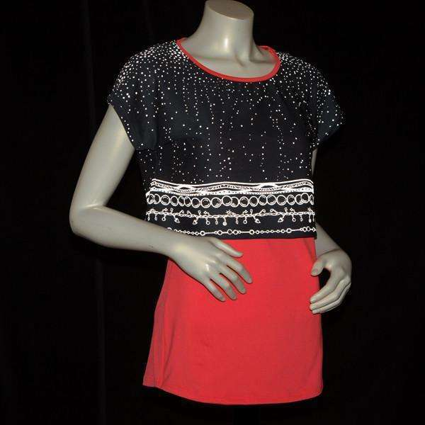 Women's Two Layer Bling Tank in Coral Glo/Charcoal--FINAL SALE