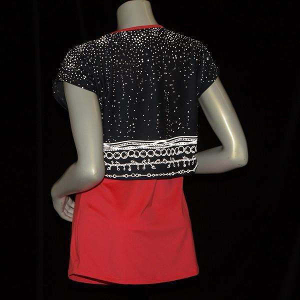 Women's Two Layer Bling Tank in Coral Glo/Charcoal