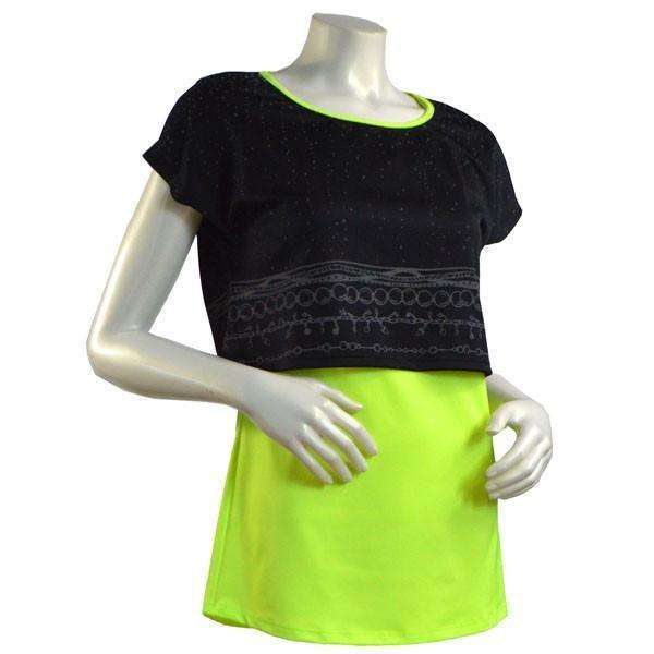 Women's Two Layer Bling Tank in Flo Lime/Black