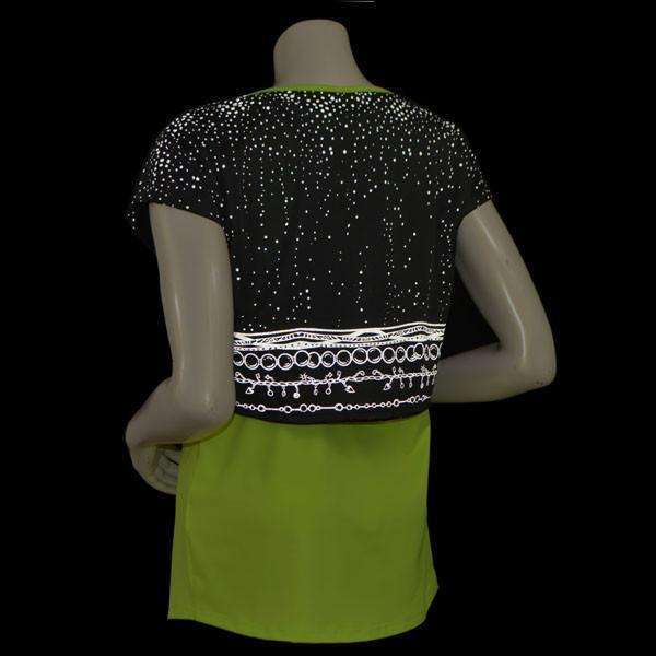 Women's Two Layer Bling Tank in Flo Lime/Black--FINAL SALE