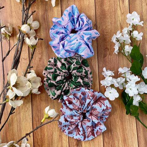 scrunchies set with surface pattern designs based on nature and florals in bright colours