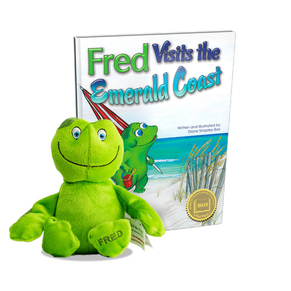 Fred Visits the Emerald Coast Book + Plush Fred the Frog
