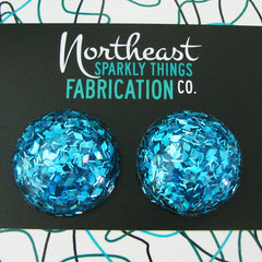 BLUE HAWAIIAN - half globe earrings