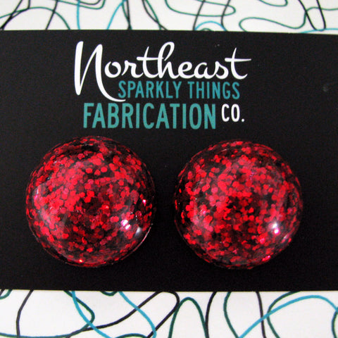 CAPE COD CRANBERRY - half globe earrings