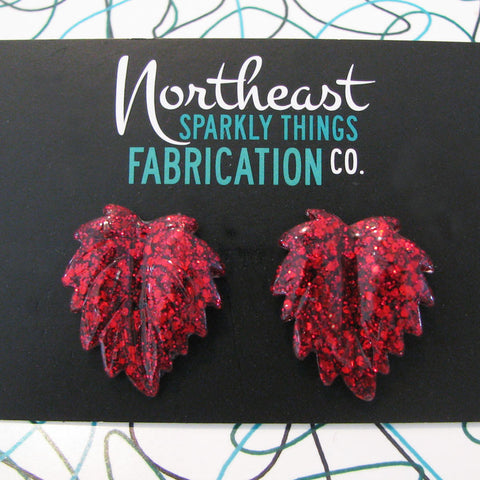 CAPE COD CRANBERRY - leaf earrings