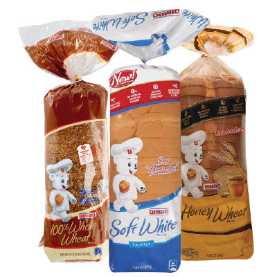 Bimbo Soft Bread White, Wheat, 100% Whole Wheat Image