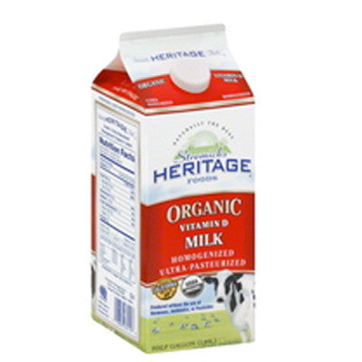 Heritage Organic Milk Whole, 2%, 1% or Fat Free Image