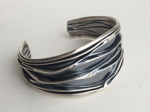 Corrugated Sterling Silver Cuff