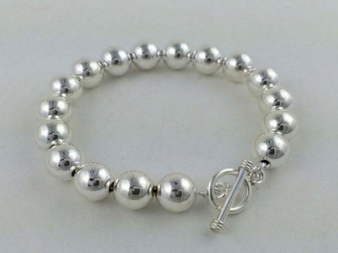 8mm Sterling Silver Beaded Bracelet with Toggle Clasp
