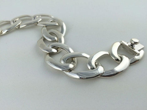 Opposing Hearts Sterling Silver Hinged Bracelet