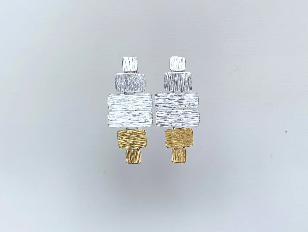 Raked Mixed Tiles on Post Earring, Silver/Gold