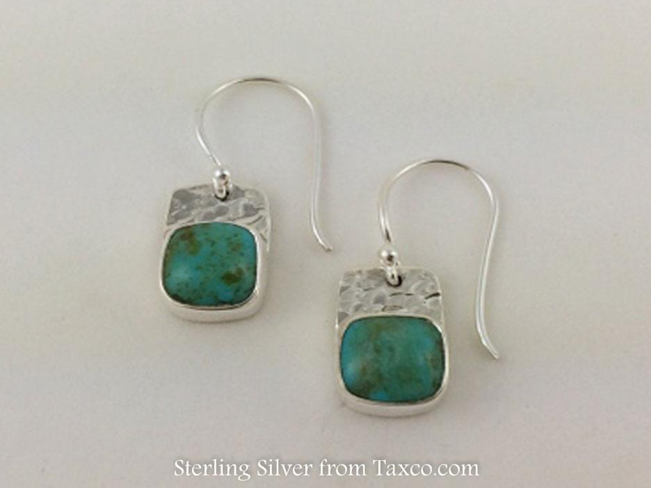 Quadrado Sterling Silver Earring on Hook, Light Turquoise