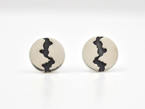 "1/4"" Disc with Oxidized Division Sterling Silver Earring"