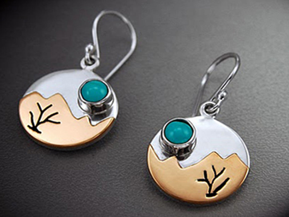 Copper Sunrise w/Turquoise Cabachon Earrings