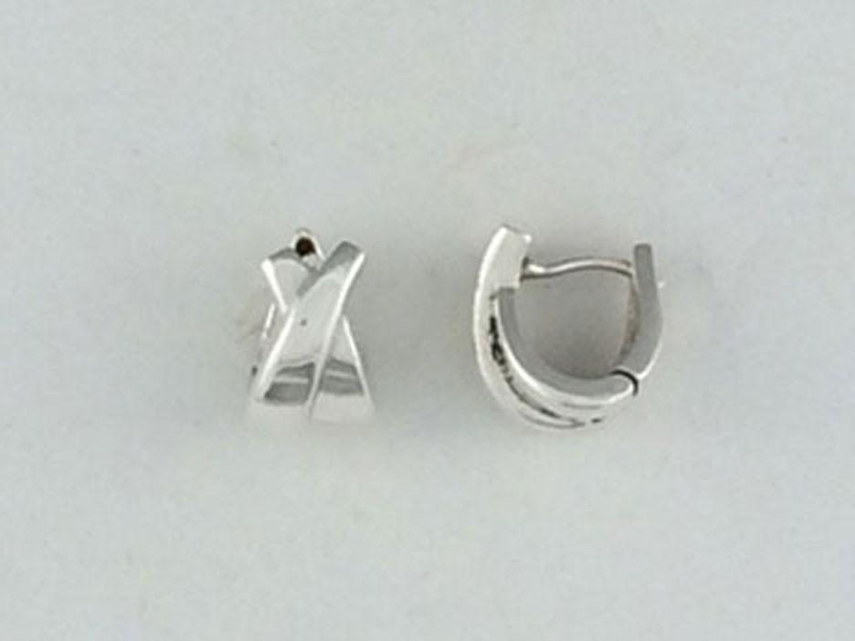"Small ""X"" Sterling Silver Huggie Earring"