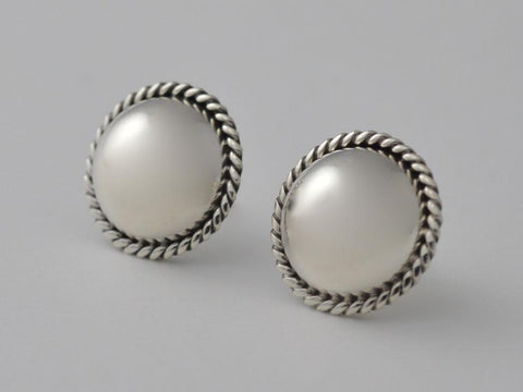 12mm Sterling Silver Button Stud with Rope Frame Earring