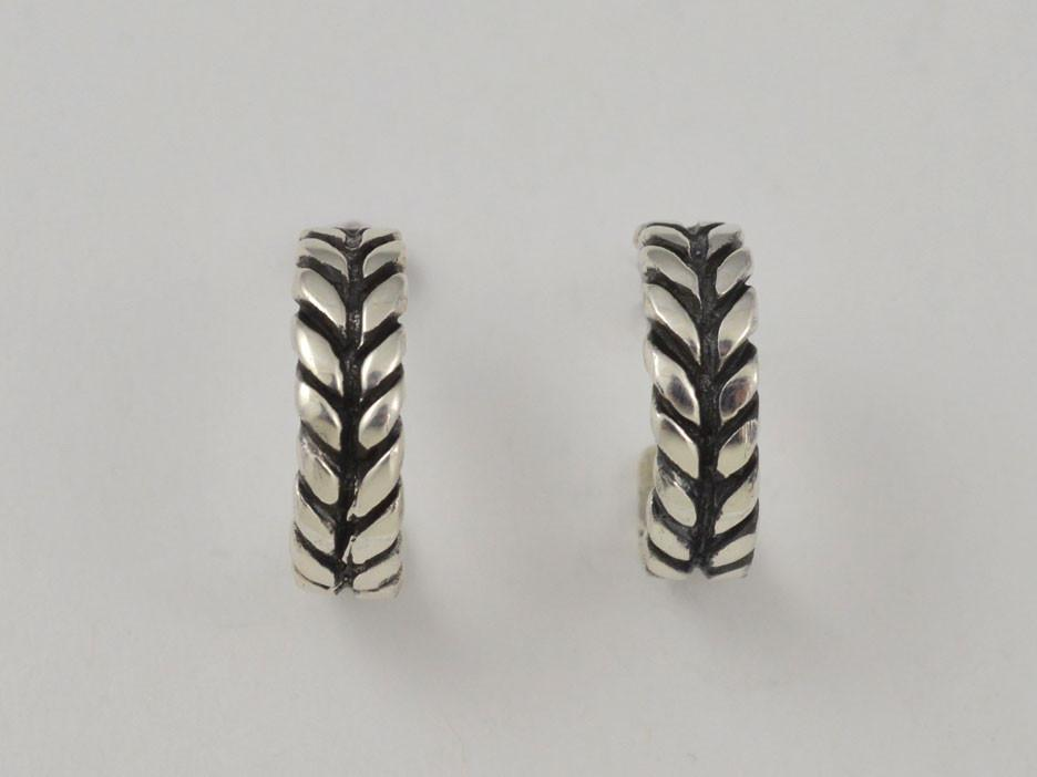 Chevron Sterling Silver Hoop Earring
