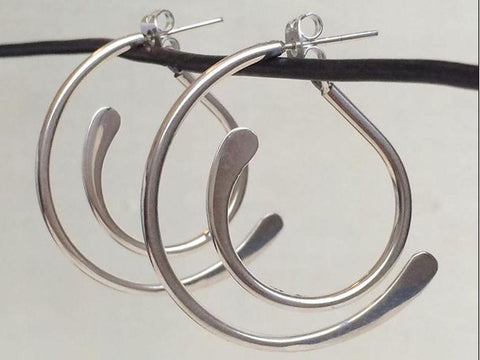 Paperclip Earrings on Long Hook, Hammered