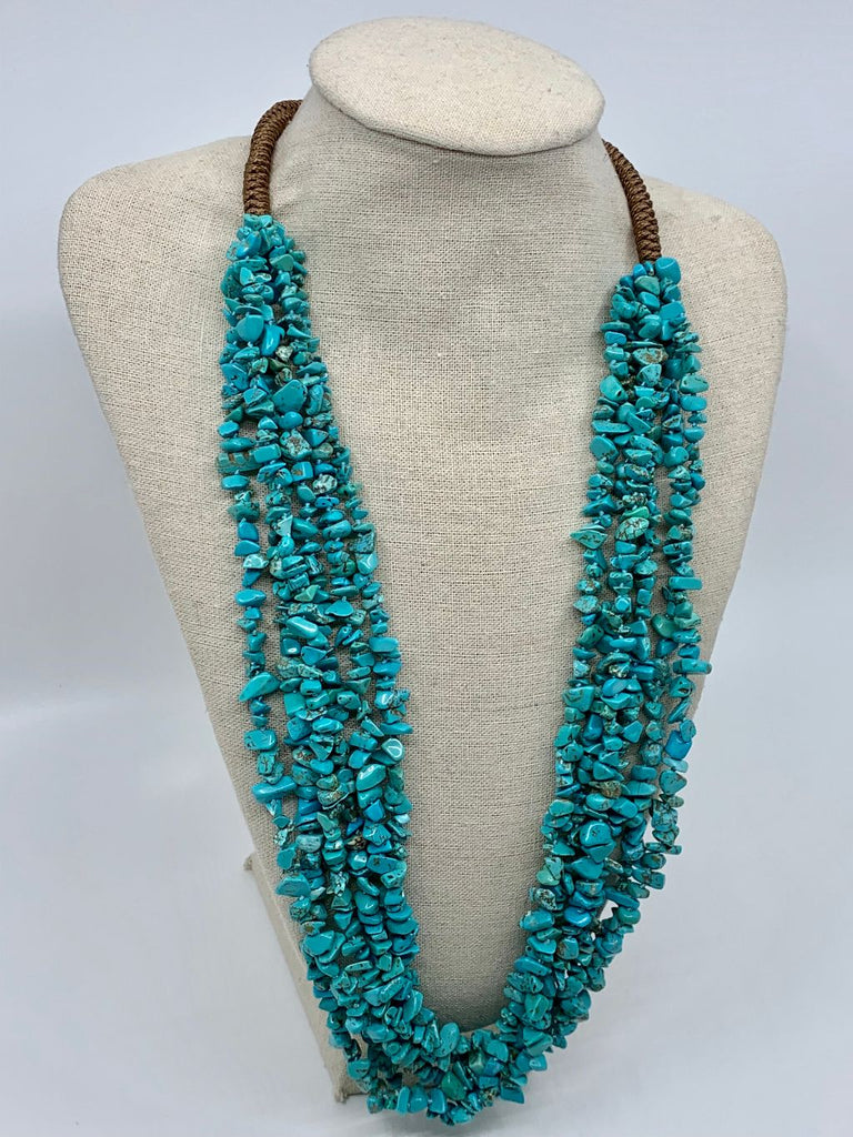 Turquoise Chip Multi-Strand Necklace