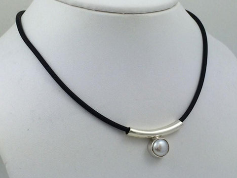 Pearl on Sterling Silver Tube on Black Jelly Necklace