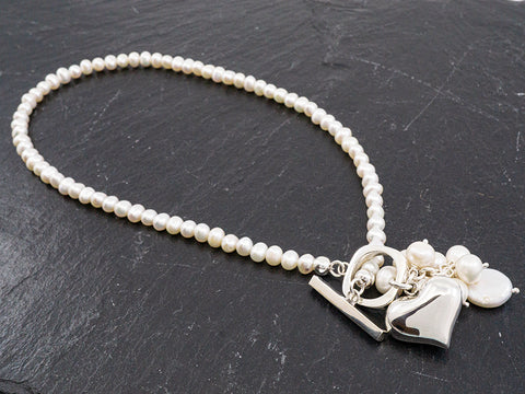 Pearl with Sterling Silver Toggle & Heart Necklace