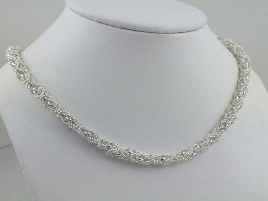 Byzantine Satin Sterling Silver Necklace