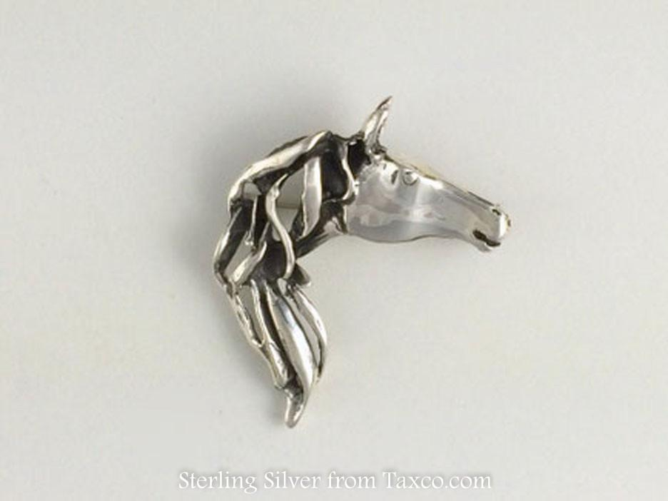Sterling Silver Horse Head Pin