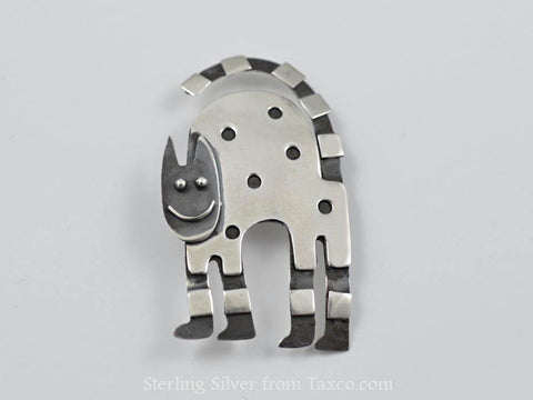 Sterling Silver Arched Cat Pin