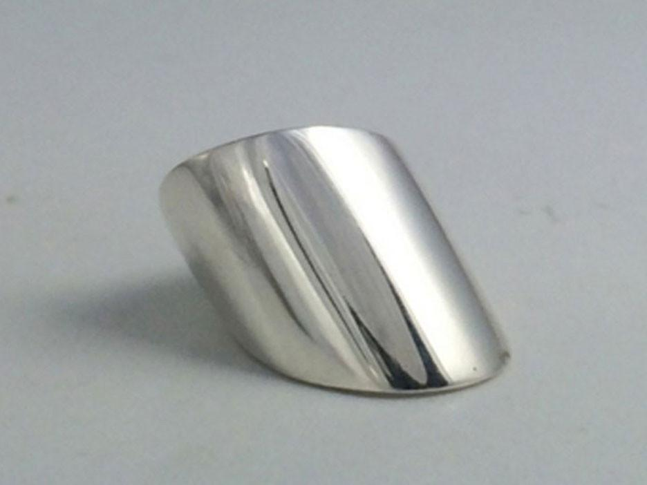 Extra Wide Angle Sterling Silver Ring
