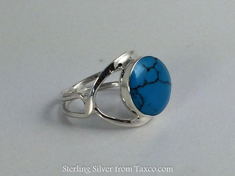 Sterling Silver Frame Ring with Dark Turquoise Round Stone