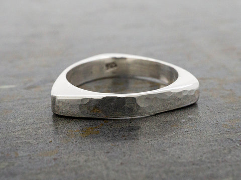 Modern Pearl Wide Sterling Silver Band Ring
