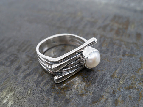 Semanario Ring with 7 Sterling Silver Rings with Prayer Beads