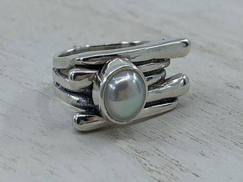 Sterling Silver Burillado Ring