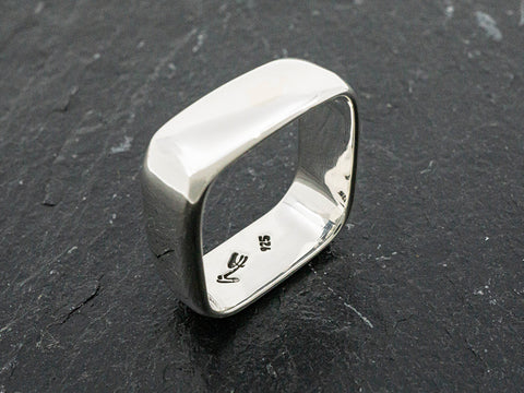 "1/4"" Wide Sterling Silver Square Ring"