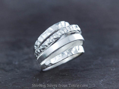 Sterling Silver Corrugated Ring with Pearl Cabachon