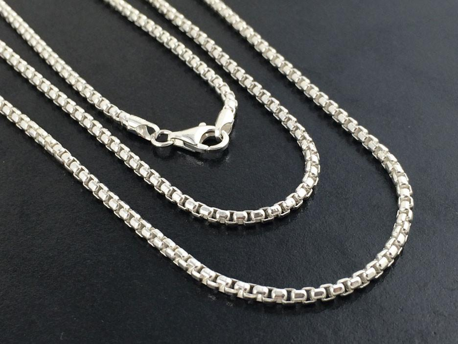 Sterling Silver Round Box Chain, 2.5mm