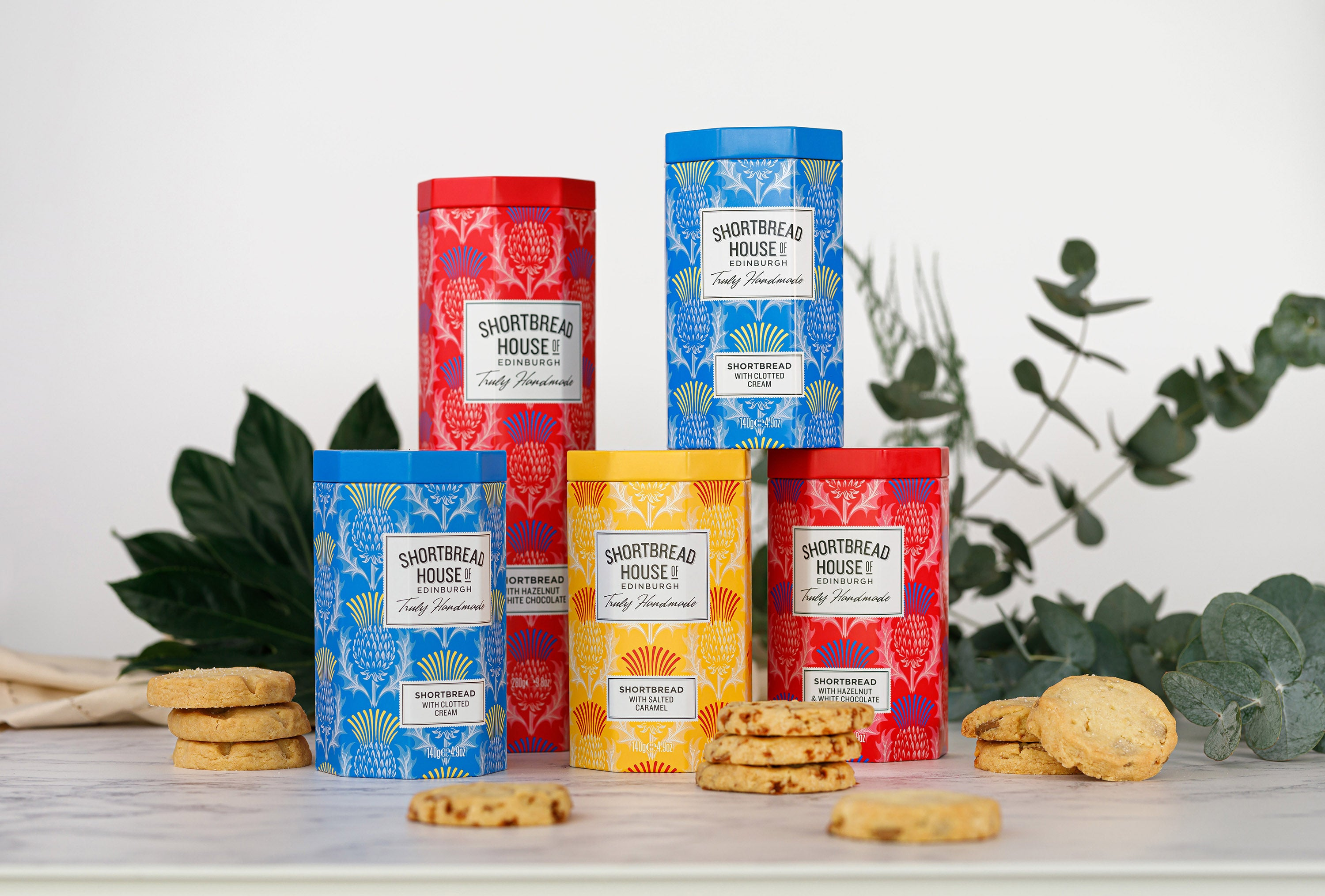 A selection of shortbread tins from the Shortbread House of Edinburgh