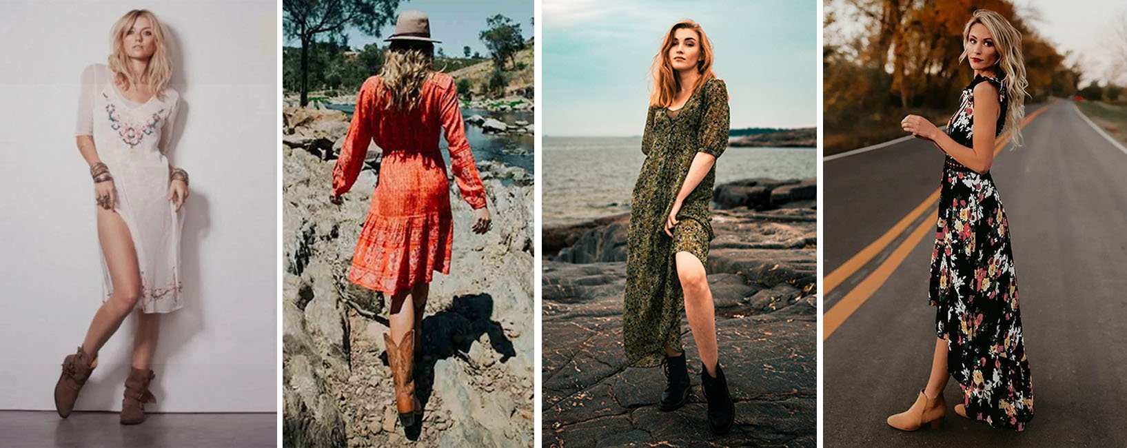 Booties with or without heels for a bohemian style