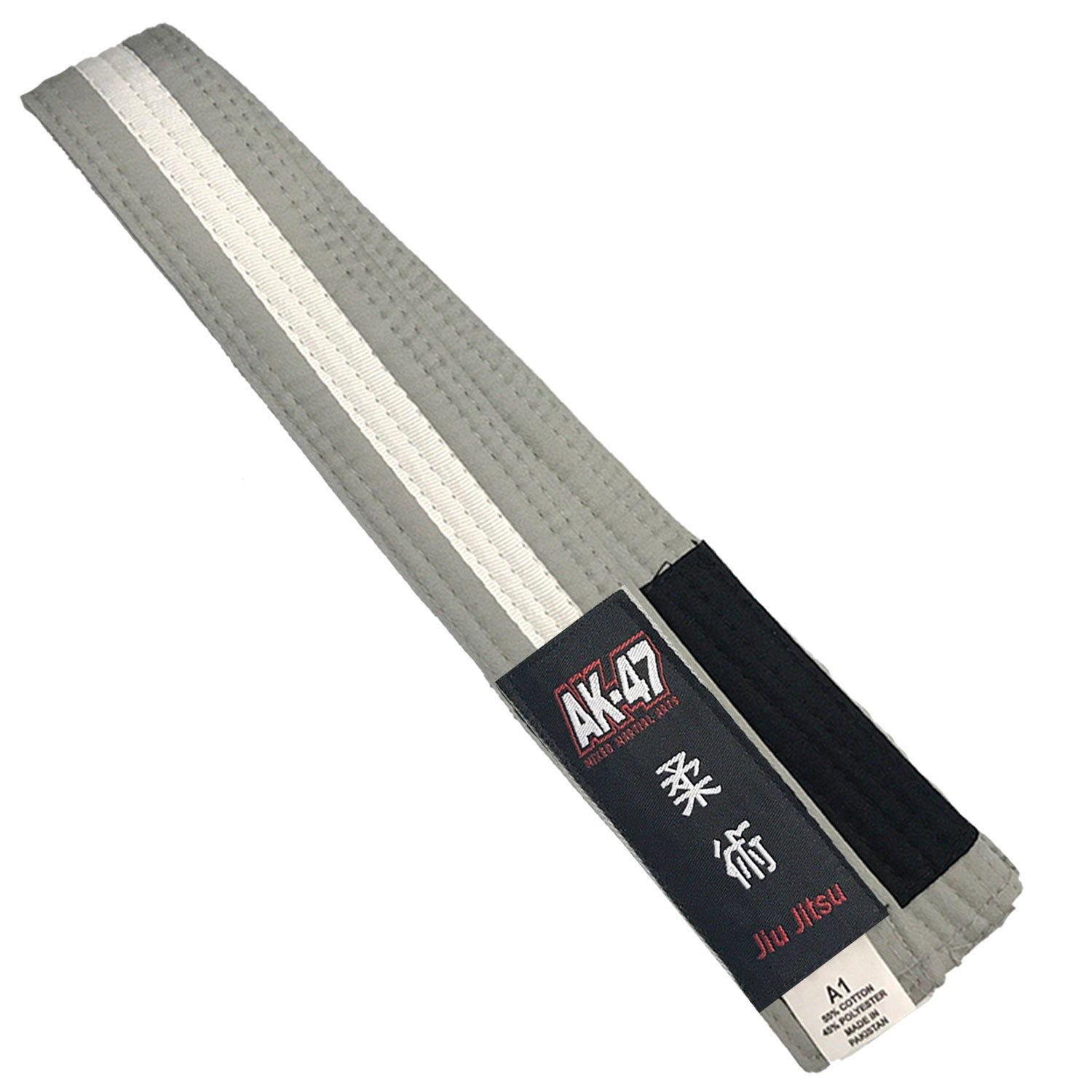 AK-47 Kids Jiu Jitsu Belt Gray w White Stripe